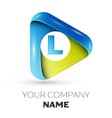 realistic letter l logo colorful triangle vector image vector image