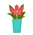 red flower in blue vase vector image