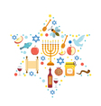 Set icons on the Jewish New Year Rosh Hashanah vector image vector image