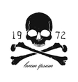 Skull and crossbones vintage black emblem Print vector image