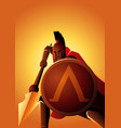 spartan warrior with his spear and shield vector image vector image
