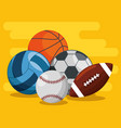sport balls pattern background vector image