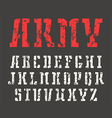 Stencil plate slab serif font in military style vector image vector image