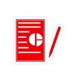 stylish sticker on paper business papers and pen vector image vector image