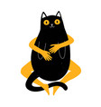 with funny cartoon fat cat and hugging women vector image