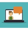 laptop man email technology bubble speech vector image
