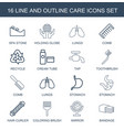 16 care icons vector image vector image
