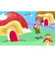 A boy near the giant mushroom houses vector image vector image