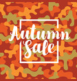 autumn sale banner on a camouflage background vector image vector image
