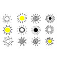 big set hand drawn suns on a white background vector image