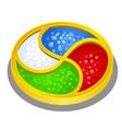 bright artifact round shape symbolizing four vector image vector image