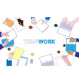 business people working on a desk top view vector image