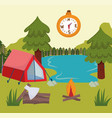camping tent compass vector image vector image