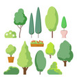 cartoon bush and tree set trees and bushes vector image vector image