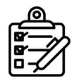 checklist with pen line icon questionnaire vector image vector image