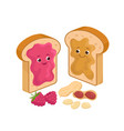 cheerful peanut butter and jelly jam on loaf vector image vector image