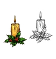 Christmas candle tree light on holly leaves sketch vector image vector image