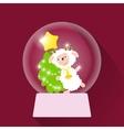 Christmas Snow globe with sheep vector image