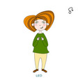 cute girl in the form of zodiac signleo vector image