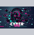 cyber punk woman girl gamer portrait video games vector image vector image