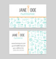 dietitian or nutritionist business card template vector image vector image