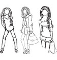 drawn fashion girls in different postures vector image vector image