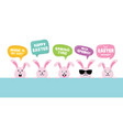 easter bunnies with greeting speech bubbles vector image vector image