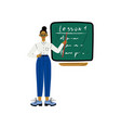 female teacher character standing in front of vector image vector image