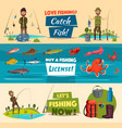fishing banner set with fishermen and fish vector image vector image
