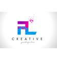 fl f l letter logo with shattered broken blue vector image vector image