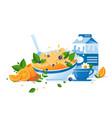 flat food with cup of tea milk orange green vector image