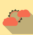 flat sun and cloud weather web icon with long vector image