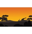 Giraffe silhouette in park scenery vector image vector image