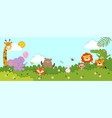 horizontal banners with happy wild animals vector image