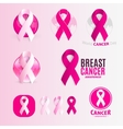 Isolated pink and white color ribbons logo set vector image vector image