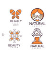 linear emblems for beauty or cosmetics salon with vector image