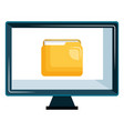 monitor computer with folder vector image vector image