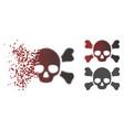 moving pixel halftone skull crossbones icon vector image