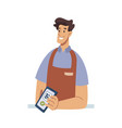 nfc payment contactless pay smartphone seller vector image vector image