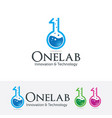 one lab logo design vector image