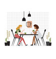 pair of young women of girlfriends sitting at vector image vector image
