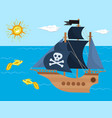 pirate ship kids cartoon piracy backdrop vector image