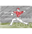pitcher throwing ball at stadium vector image