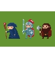 Pixel art style wizard knight and vector image