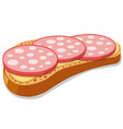 sandwich with sliced sausages vector image