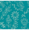 Seamless turquoise texture with contour flower vector image