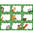 set animals with nature frame vector image vector image