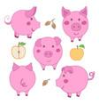 set of cute cartoon pink pig face profile back vector image