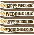 set ribbons with wedding wishes vector image vector image