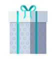 Silver Gift Box with Green Ribbon vector image vector image